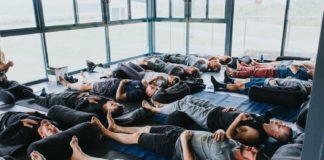 Lying on floor breathing