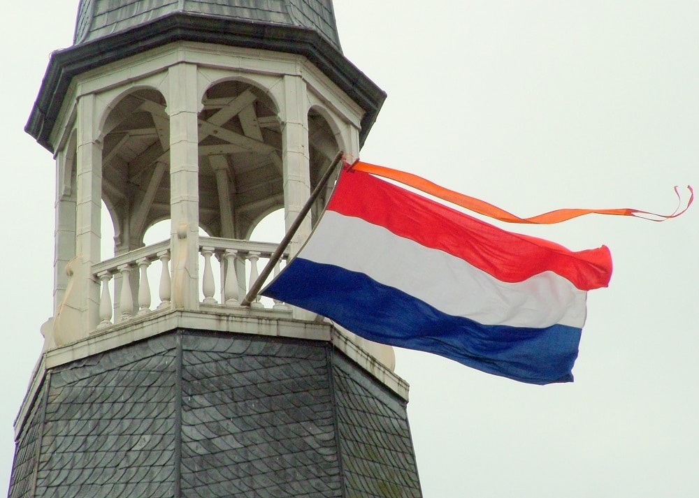Dutch flag on a tower.
