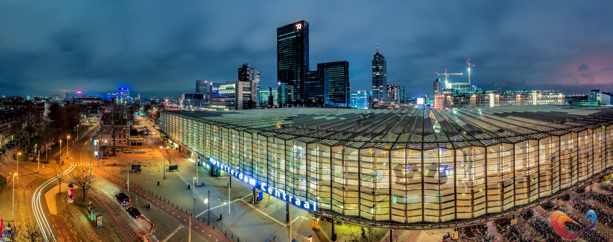 This is a panorama stitch of the wonderful city Rotterdam, at the central station.