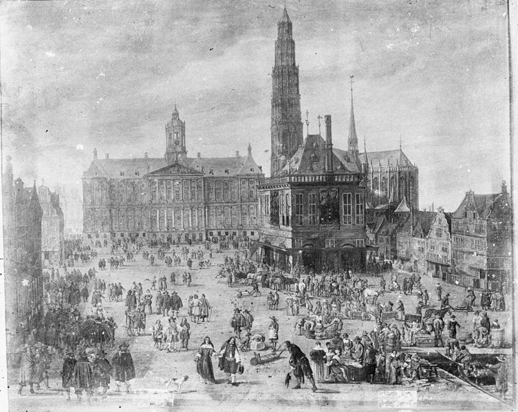 Dam Square with the Nieuwe Kerk in the 17th century