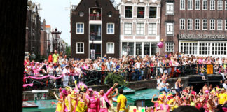 Gay pride parade in Amsterdam