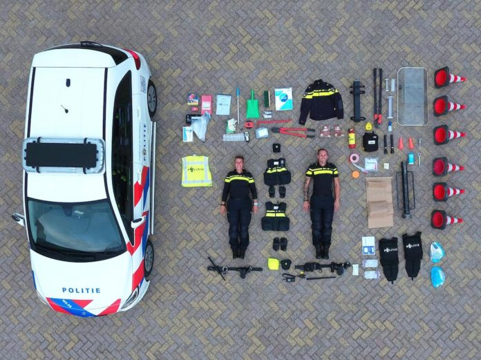 TetrisChallenge Breda Police Flatlay of Contents of Dutch Police Car