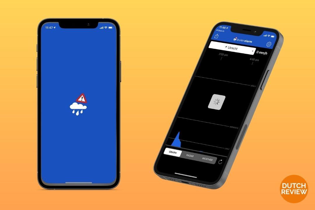 Buienalarm-app-on-a-Dutch-phone