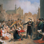 Burgomaster_van_der_Werf_offers_his_sword_to_the_people_of_Leiden_by_Mattheus_Ignatius_van_Bree