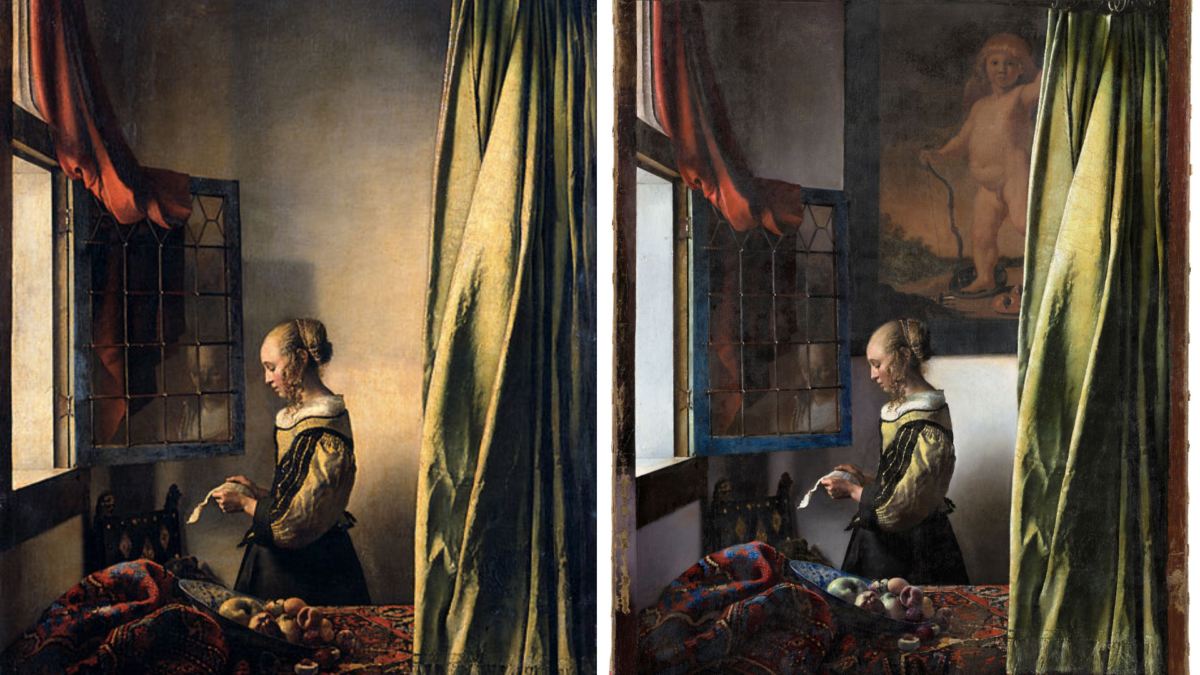 Cupid-painting-hanging-in-restored-Vermeer-painting-Girl-Reading-a-Letter-at-an-Open-Window