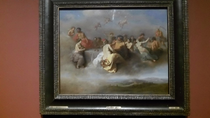 ... one of the jewels of the exhibition: the happy meeting of gods on the clouds by Cornelis van Poelenburch, 1630