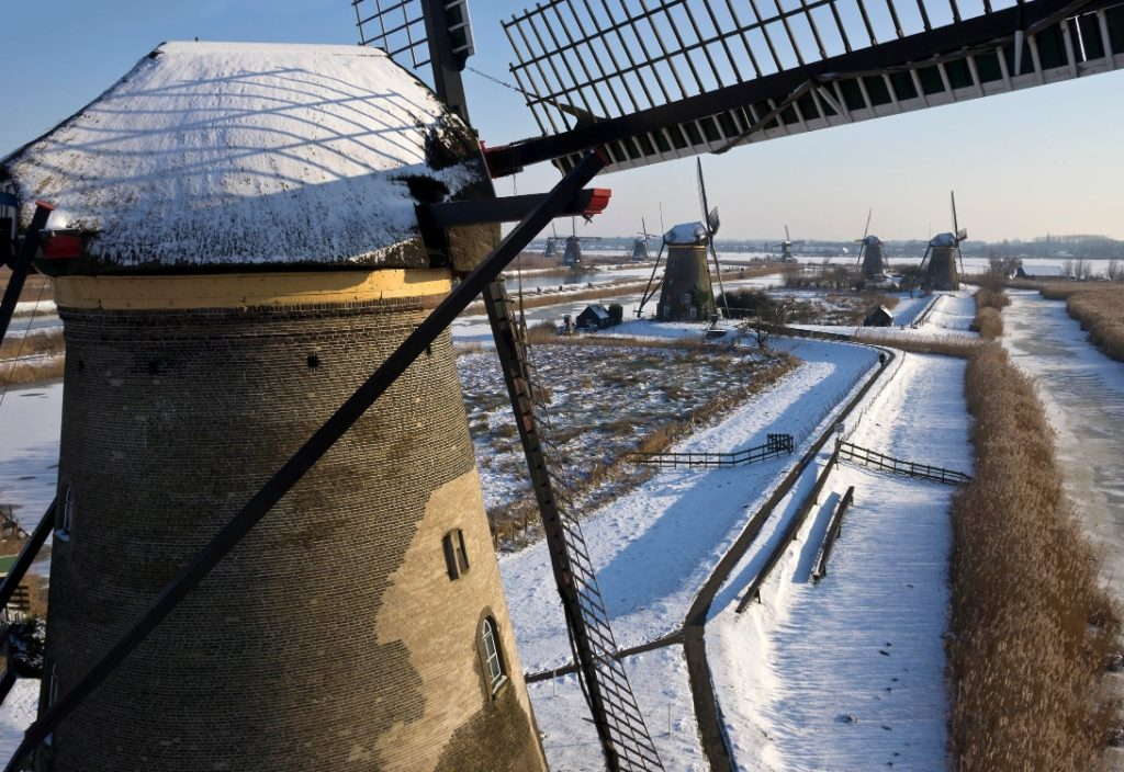 Kinderdijk windmills winter