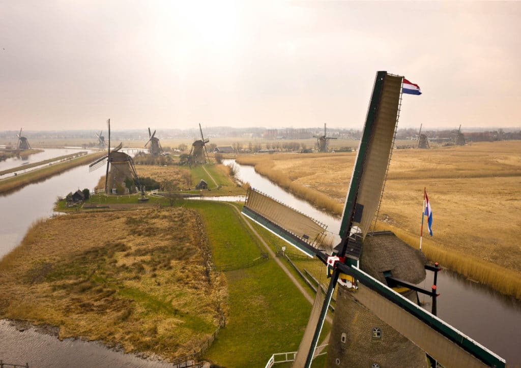 landscape over kinderdijk windmills