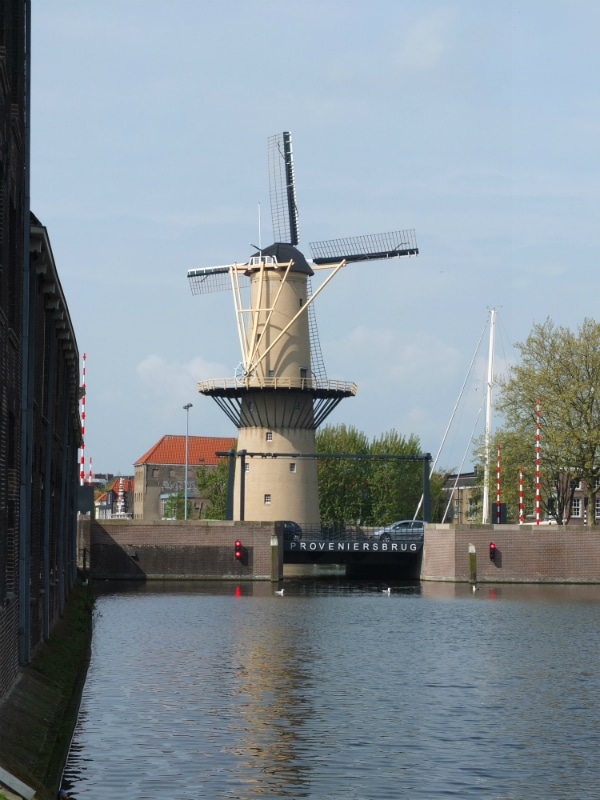 Already from the station, you can see one of Schiedam's many windmills. Oh-so-very-Dutch!