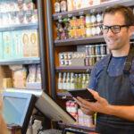 Shop assistant using calculator