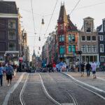 People walking on Leidsestraat street of Amsterdam