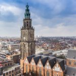 Historic Martini church dominating the skyline of Groningen