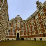 inner courtyard of an university building in amsterdam built with the classic red bricks