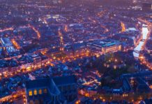 A-drone-shot-of-Leiden-at-night