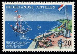 dutch-american-relations-postage-stamp-first-salute-to-the-flag-of-the-U.S.A
