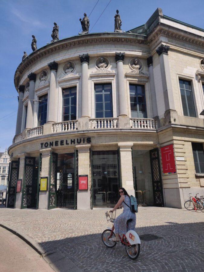 woman on bike in Antwerp