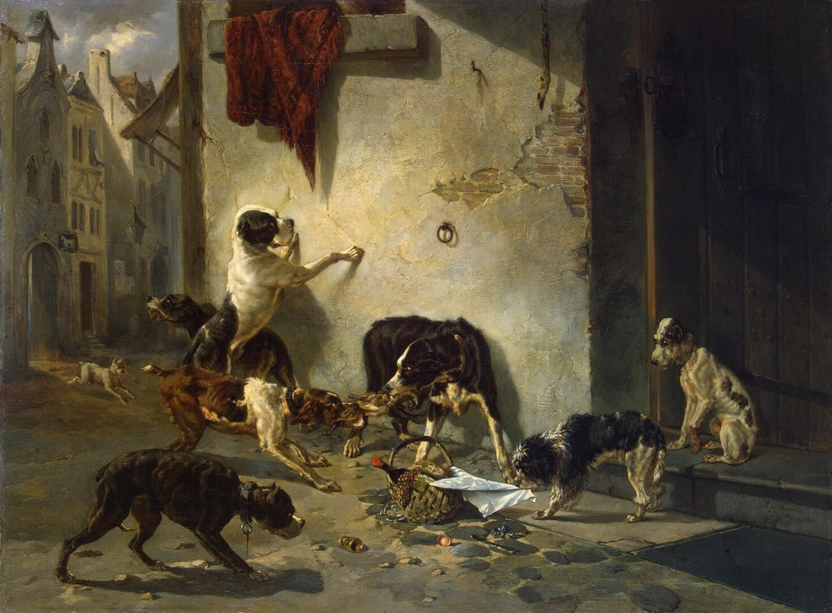 Painting of dogs eating garbage in street
