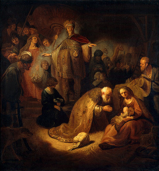 Painting-of-Adoration-of-the-Magi-by-Rembrandt