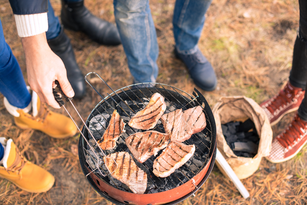Dutch-people-barbequeing-meat-on-charcoal-grill