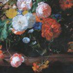 Rachel_Ruysch_-_Flowers_in_a_glass_vase_on_a_marble_slab_formerly_of_Munich_Alte_Pinakothek