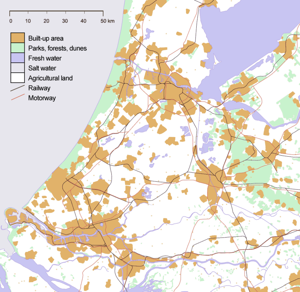 map showing the randstad in the netherlands