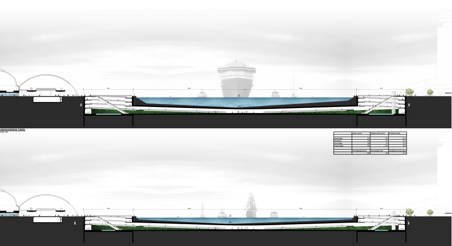 A graphic illustration of a proposed tunnel between Amsterdam CS and Noord