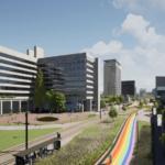 Rainbow bike path at Utrecht Science Park