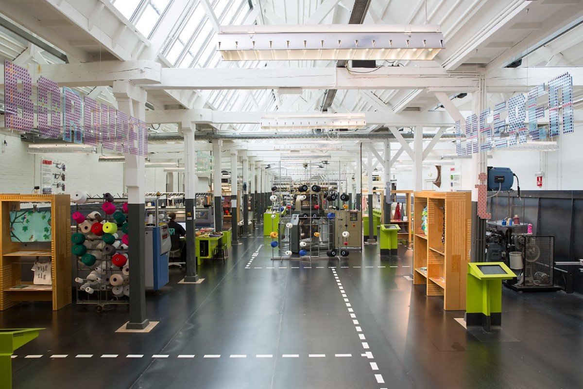 Wide shot of machinery at the TextielLab in the TextielMusem