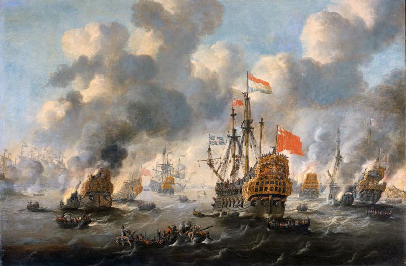 This painting, iconic-for-DutchReview, by Peter van den Velde shows the Dutch expedition on the Thames. It was the first action of the Dutch Marines Corps and also one of the very few succesfull foreign entries of Britain in the past centuries.
