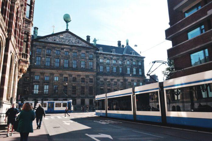 tram-in-central-Amsterdam