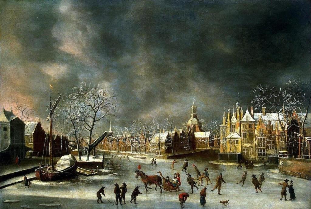 Wintergezicht op Leiden. Door Jan Abrahamsz. van Beerstraten (1622-1666). Links de Waag