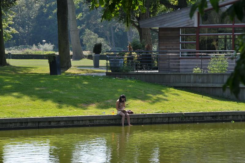 Dutch-woman-sunbathing-in-a-bikini-in-Zuderpark-The-Hague
