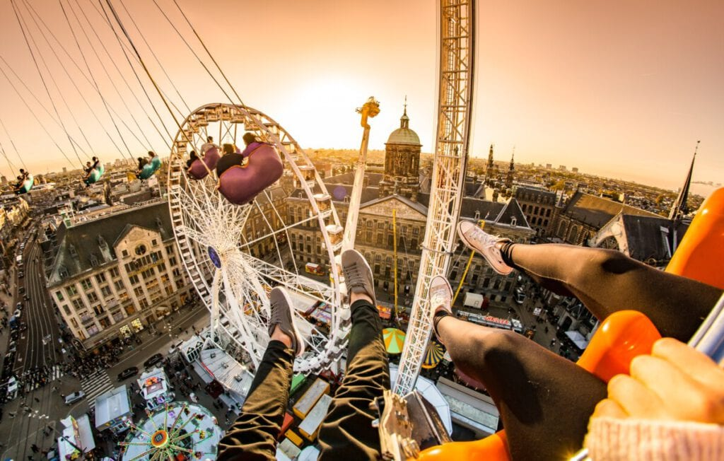 A view over the city of Amsterdam taken during the annual autumn carnival in Dam Square.