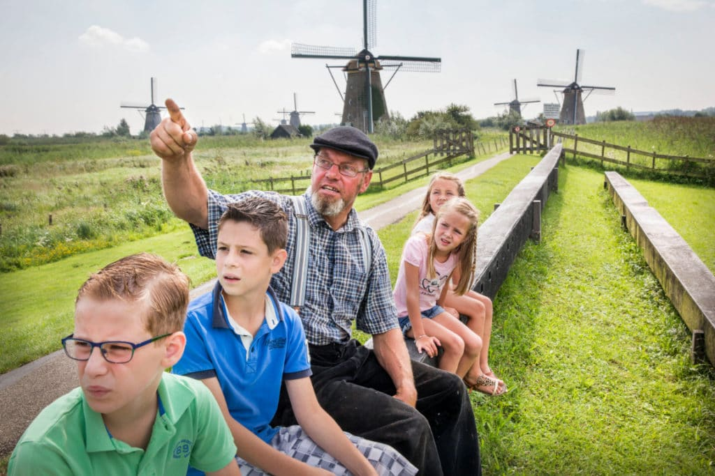 children kinderdijk windmill