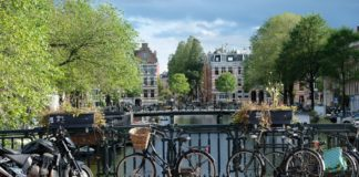 amsterdam-bike-canal-green-trees