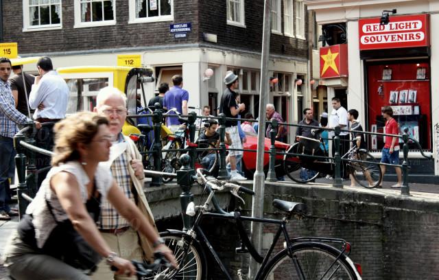 people biking in Amsterdam