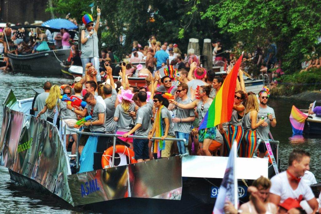 Photo-of-pride-parade-boat-Amsterdam-canal