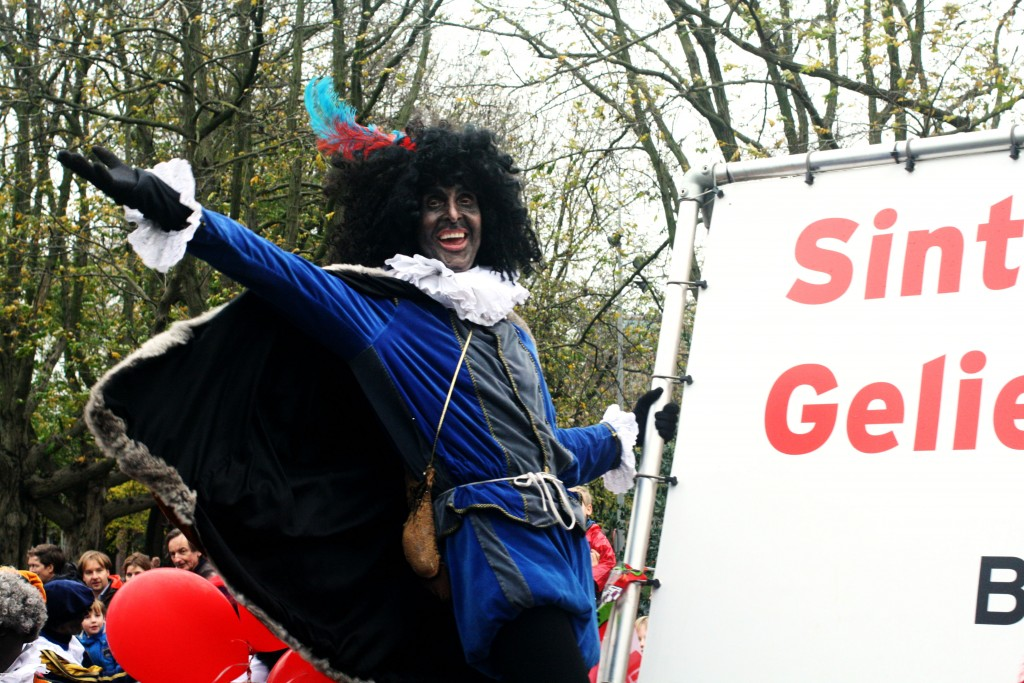 Black Pete showing off during a parade in Amsterdam