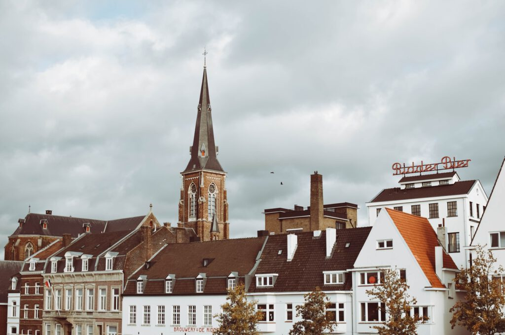 A-view-of-Maastricht-from-the-river-with-church