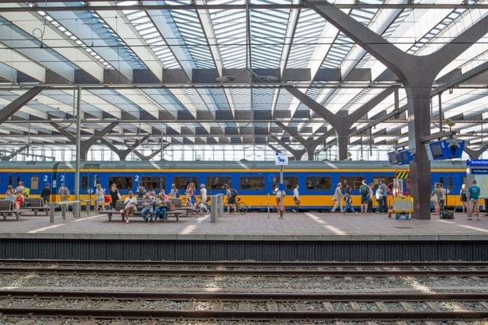 A-NS-Dutch-train-coming-into-Amerstam-central--station