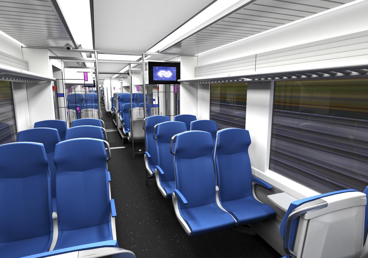 Train seats inside a carriage.