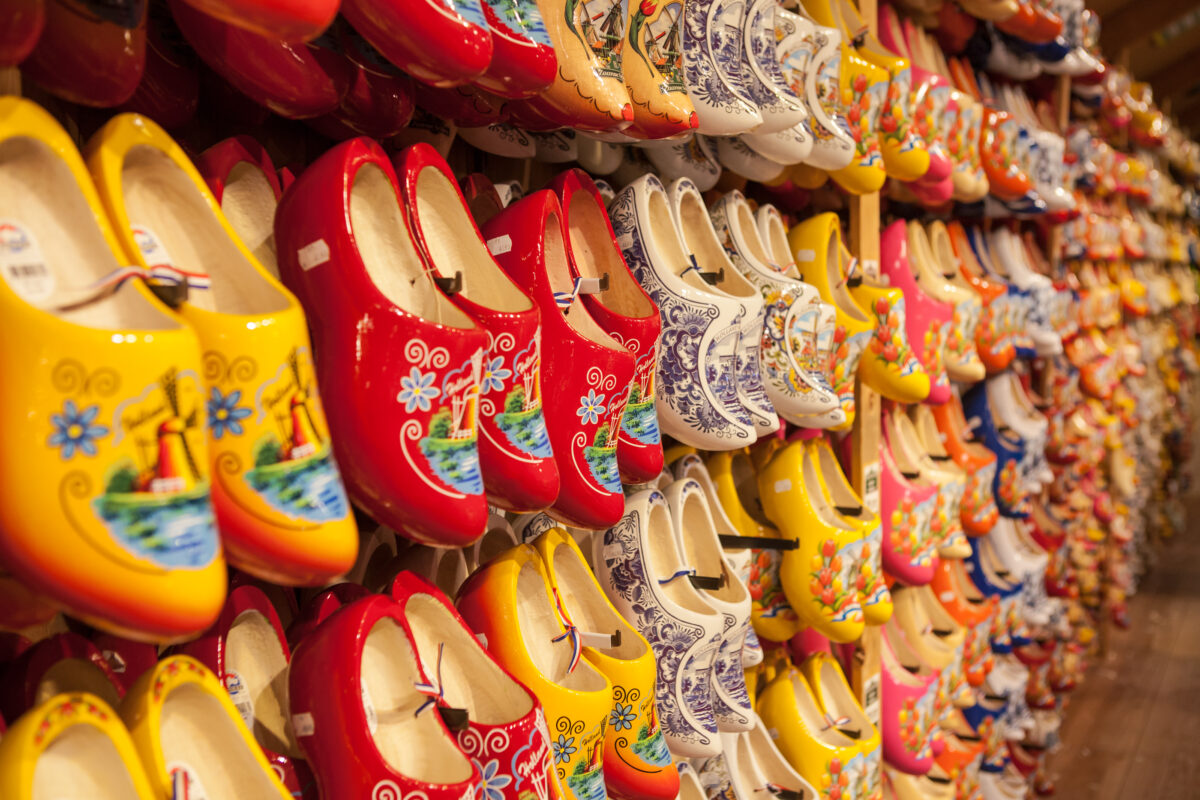 person-wearing-dutch-wooden-clogs