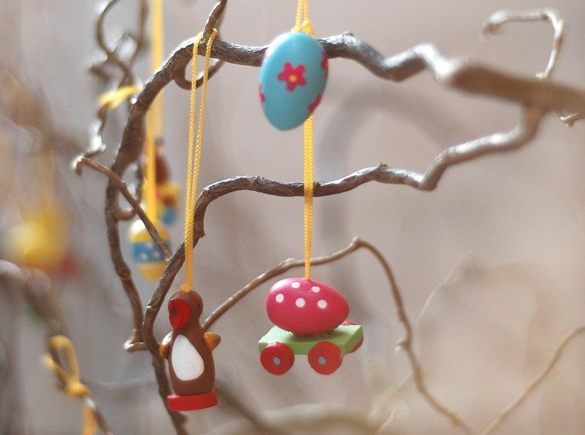 Photo-of-Easter-eggs-on-willow-branch-Netherlands