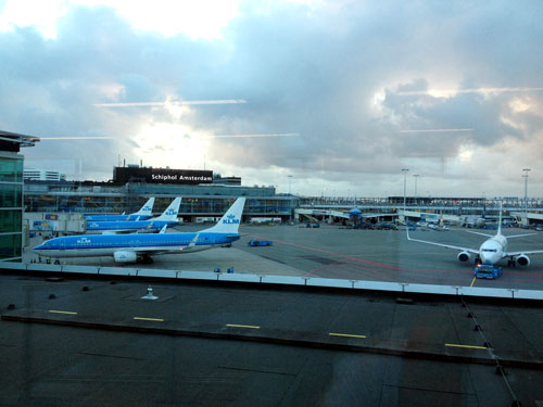 The World's Oldest Airline KLM planes sitting at Schiphol airport in Amsterdam