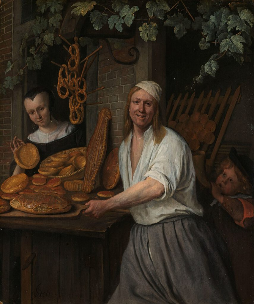 1958-painting-dutch-baker-taking-bread-out-the-oven