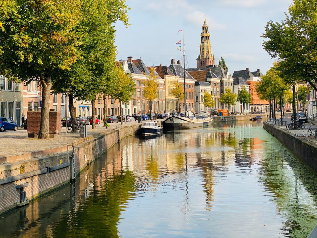 Canal-and-church-tower-in-Groningen