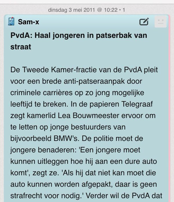 It's the PvdA saying that the police has to apprehend more young people with big cars in order for them to explain 'how they can afford such a ride' (source: twitter @tacopotze)