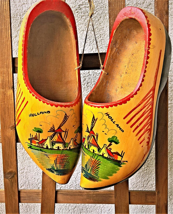 A-yellow-pair-of-tradtional-Dutch-clogs