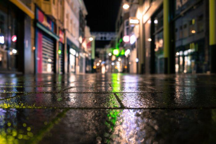 shopping street, reflection, lighting