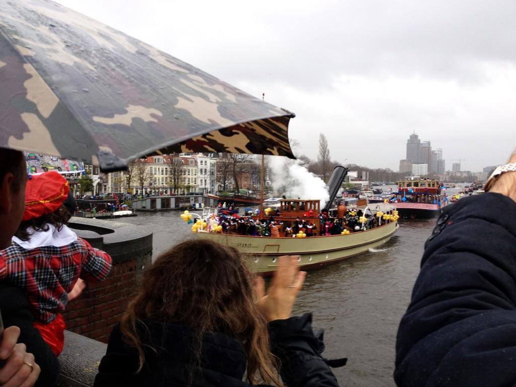 Sinterklaas on his boat on the Amstel river in Amsterdam